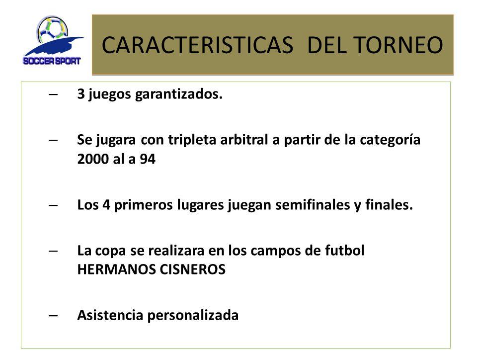 CARACTERISTICAS DEL TORNEO – 3 juegos garantizados. – Se jugara con tripleta arbitral a partir de la categoría 2000 al a 94 – Los 4 primeros lugares j