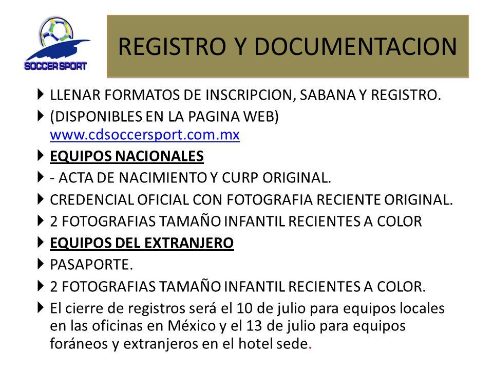 REGISTRO Y DOCUMENTACION LLENAR FORMATOS DE INSCRIPCION, SABANA Y REGISTRO. (DISPONIBLES EN LA PAGINA WEB) www.cdsoccersport.com.mx www.cdsoccersport.
