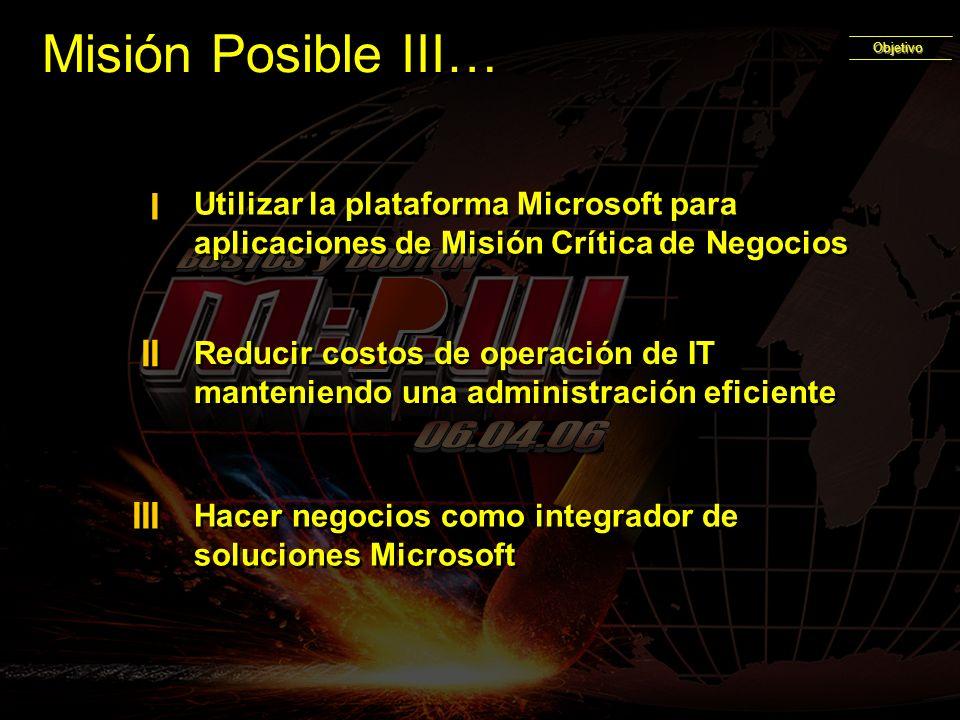 Utilizar la plataforma Microsoft para aplicaciones de Misión Crítica de Negocios I I Reducir costos de operación de IT manteniendo una administración