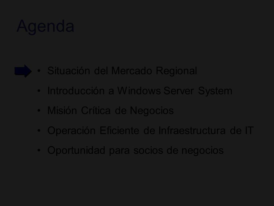 Oportunidad Para Socios de Negocio Chile, Potencial de Mercado en Licencias de SW (Millones US$) Misión Crítica –SQL & Tools US$ 32.7 –Actualización de versiones anteriores y migraciones competitivas Operación de IT: –Infraestructura de Operaciones, Seguridad, Colaboración y Comunicación: US$ 91.5 Estadío MIO en Cuentas de Cono Sur % Cuentas Corporativas según Estadío de Infra de IT US$ 124.2 Millones US$ 124.2 Millones Estimado