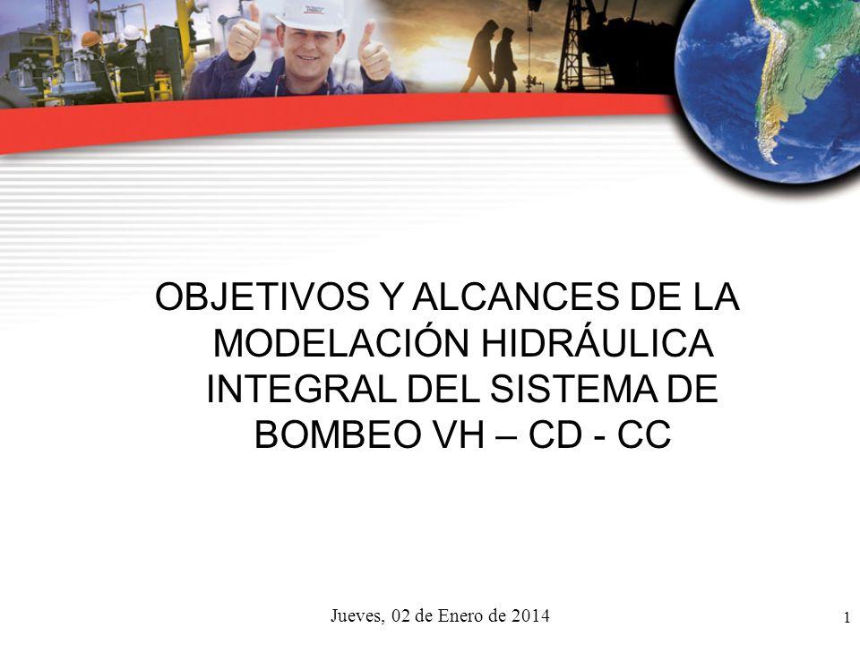 1 Jueves, 02 de Enero de 2014 OBJETIVOS Y ALCANCES DE LA MODELACIÓN HIDRÁULICA INTEGRAL DEL SISTEMA DE BOMBEO VH – CD - CC
