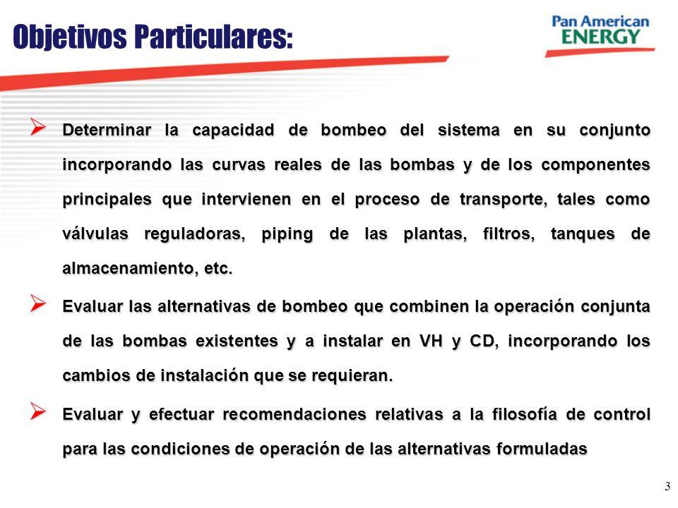 4 Alternativas a Considerar: EN PRINCIPIO SE MODELARÁN LAS ALTERNATIVAS A, B, C y D PRESENTADAS EN EL PWP ALTERNATIVAS DE BOMBEO POR PROBLEMAS DE BOMBAS A TORNILLO En particular, se considerará: Emplear la máxima capacidad de bombeo de VH para transportar crudos directamente a CC, con rebombeo en CD (dedicando al menos 2 bombas).