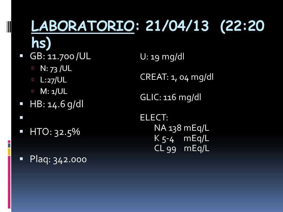 LABORATORIO: 21/04/13 (22:20 hs) GB: 11.700 /UL N: 73 /UL L:27/UL M: 1/UL HB: 14.6 g/dl HTO: 32.5% Plaq: 342.000 U: 19 mg/dl CREAT: 1, 04 mg/dl GLIC: 116 mg/dl ELECT: NA 138 mEq/L K 5-4 mEq/L CL 99 mEq/L