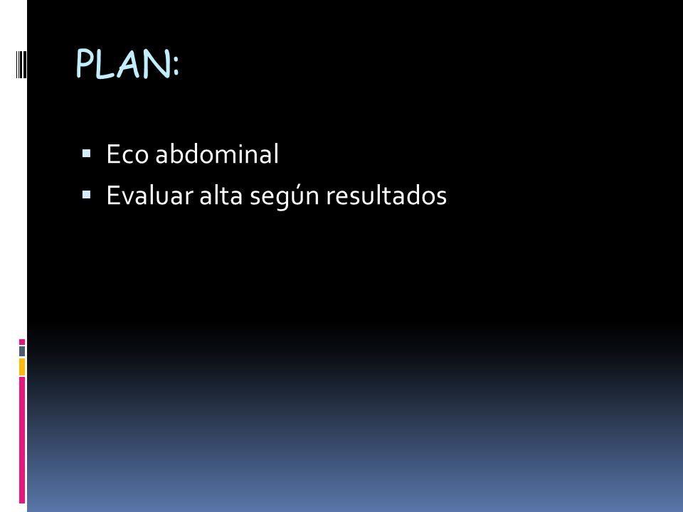 PLAN: Eco abdominal Evaluar alta según resultados