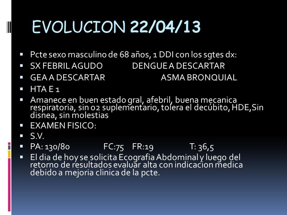 EVOLUCION 22/04/13 Pcte sexo masculino de 68 años, 1 DDI con los sgtes dx: SX FEBRIL AGUDODENGUE A DESCARTAR GEA A DESCARTARASMA BRONQUIAL HTA E 1 Amanece en buen estado gral, afebril, buena mecanica respiratoria, sin o2 suplementario, tolera el decúbito, HDE,Sin disnea, sin molestias EXAMEN FISICO: S.V.