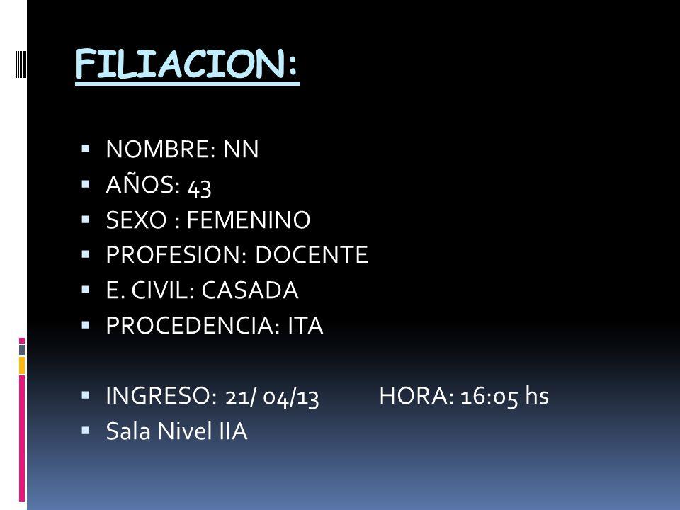 FILIACION: NOMBRE: NN AÑOS: 43 SEXO : FEMENINO PROFESION: DOCENTE E. CIVIL: CASADA PROCEDENCIA: ITA INGRESO: 21/ 04/13 HORA: 16:05 hs Sala Nivel IIA