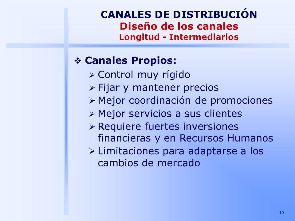 10 Canales Propios: Control muy rígido Fijar y mantener precios Mejor coordinación de promociones Mejor servicios a sus clientes Requiere fuertes inve