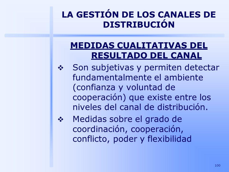 100 LA GESTIÓN DE LOS CANALES DE DISTRIBUCIÓN MEDIDAS CUALITATIVAS DEL RESULTADO DEL CANAL Son subjetivas y permiten detectar fundamentalmente el ambi