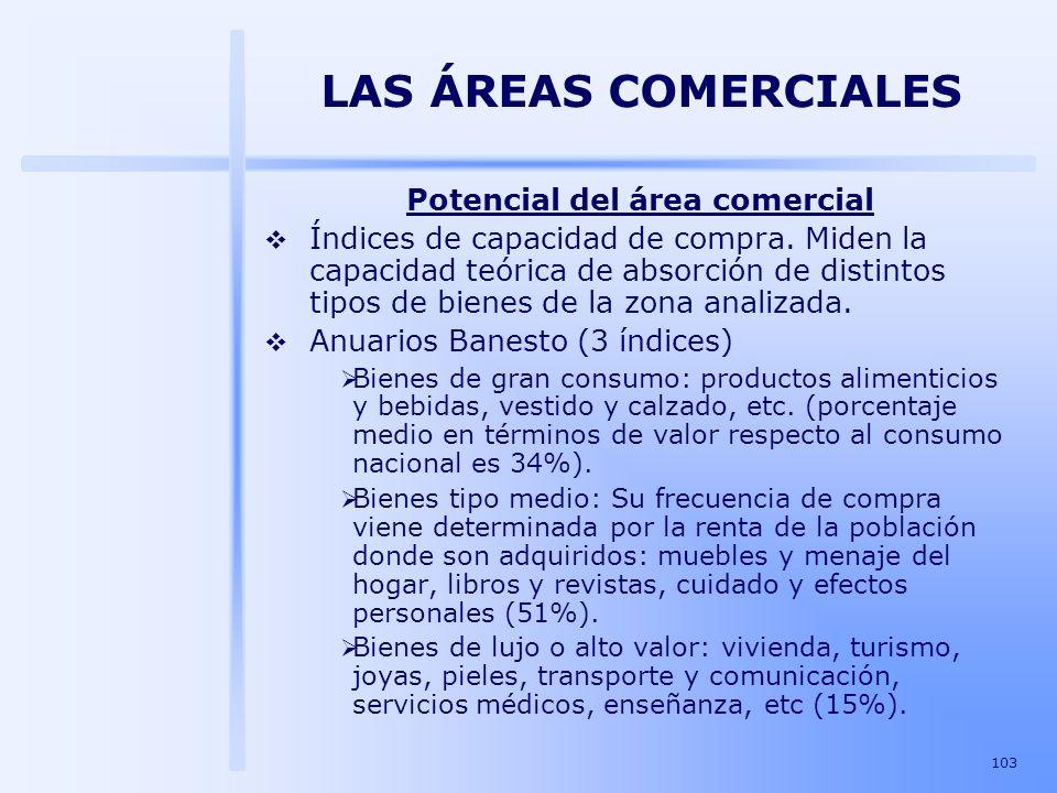 103 LAS ÁREAS COMERCIALES Potencial del área comercial Índices de capacidad de compra. Miden la capacidad teórica de absorción de distintos tipos de b