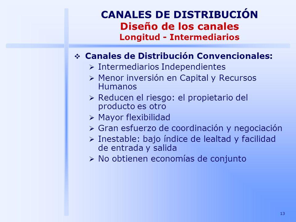 13 Canales de Distribución Convencionales: Intermediarios Independientes Menor inversión en Capital y Recursos Humanos Reducen el riesgo: el propietar
