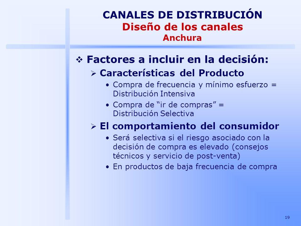 19 Factores a incluir en la decisión: Características del Producto Compra de frecuencia y mínimo esfuerzo = Distribución Intensiva Compra de ir de com