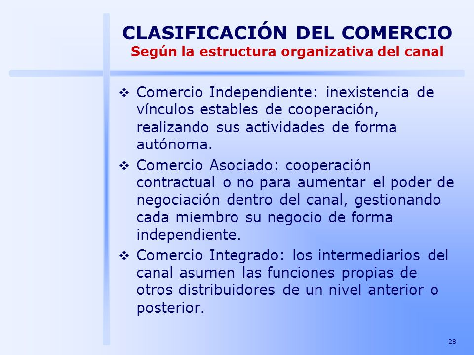 28 CLASIFICACIÓN DEL COMERCIO Según la estructura organizativa del canal Comercio Independiente: inexistencia de vínculos estables de cooperación, rea
