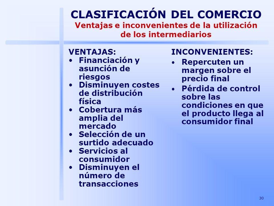 30 VENTAJAS: Financiación y asunción de riesgos Disminuyen costes de distribución física Cobertura más amplia del mercado Selección de un surtido adec