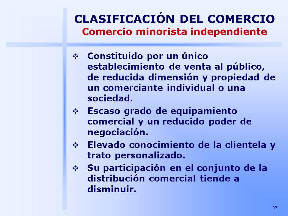 37 CLASIFICACIÓN DEL COMERCIO Comercio minorista independiente Constituido por un único establecimiento de venta al público, de reducida dimensión y p
