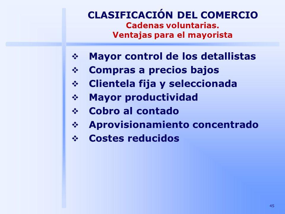 45 CLASIFICACIÓN DEL COMERCIO Cadenas voluntarias. Ventajas para el mayorista Mayor control de los detallistas Compras a precios bajos Clientela fija