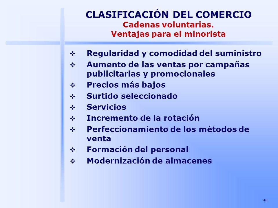 46 CLASIFICACIÓN DEL COMERCIO Cadenas voluntarias. Ventajas para el minorista Regularidad y comodidad del suministro Aumento de las ventas por campaña
