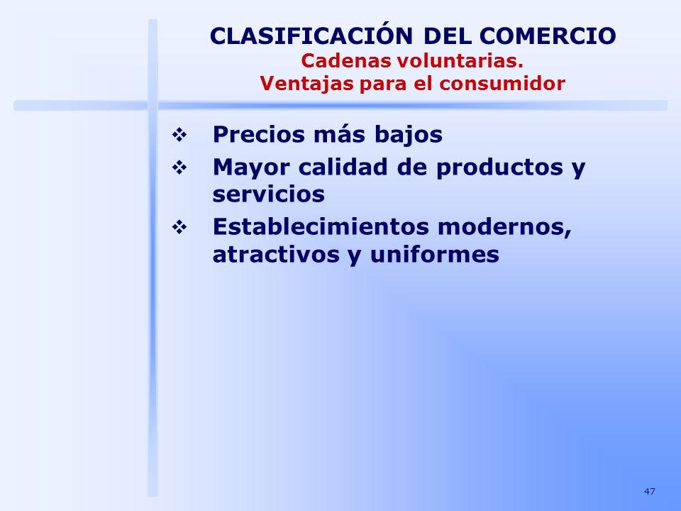47 CLASIFICACIÓN DEL COMERCIO Cadenas voluntarias. Ventajas para el consumidor Precios más bajos Mayor calidad de productos y servicios Establecimient