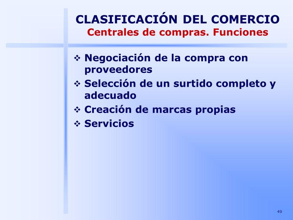 49 CLASIFICACIÓN DEL COMERCIO Centrales de compras. Funciones Negociación de la compra con proveedores Selección de un surtido completo y adecuado Cre