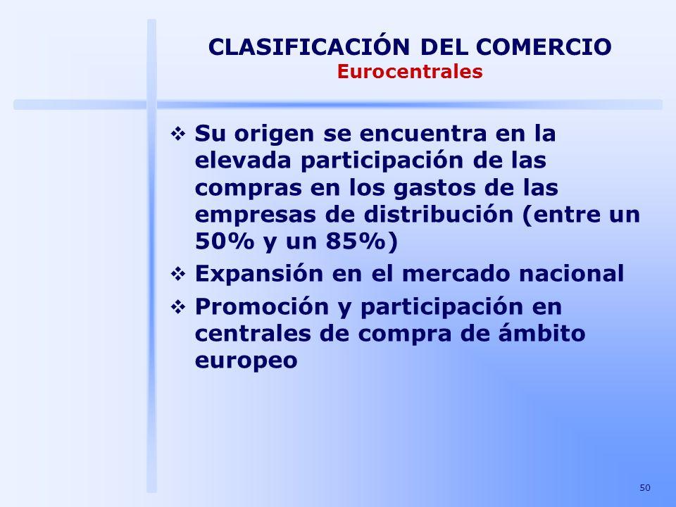50 CLASIFICACIÓN DEL COMERCIO Eurocentrales Su origen se encuentra en la elevada participación de las compras en los gastos de las empresas de distrib