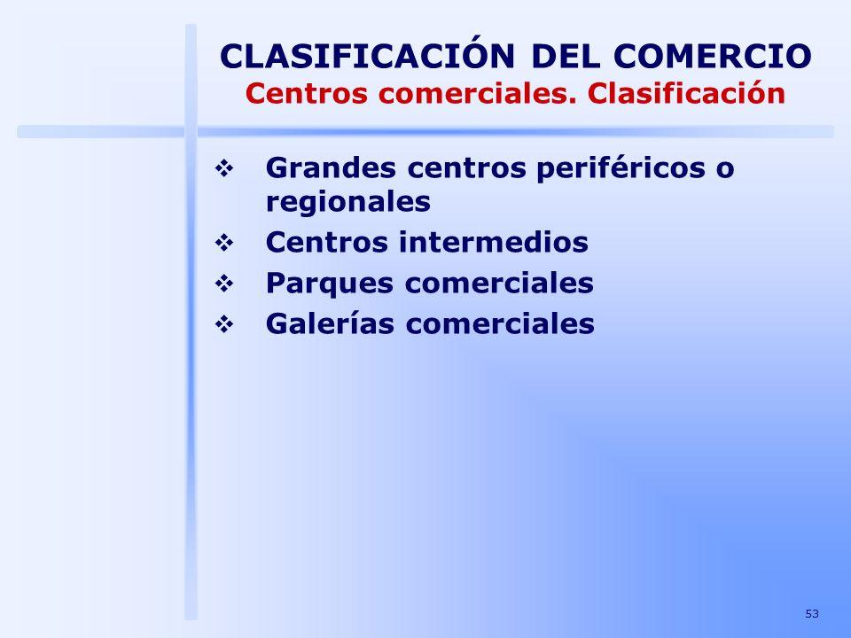 53 CLASIFICACIÓN DEL COMERCIO Centros comerciales. Clasificación Grandes centros periféricos o regionales Centros intermedios Parques comerciales Gale