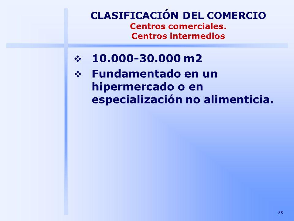 55 CLASIFICACIÓN DEL COMERCIO Centros comerciales. Centros intermedios 10.000-30.000 m2 Fundamentado en un hipermercado o en especialización no alimen