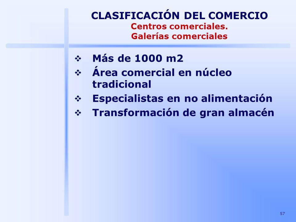 57 CLASIFICACIÓN DEL COMERCIO Centros comerciales. Galerías comerciales Más de 1000 m2 Área comercial en núcleo tradicional Especialistas en no alimen