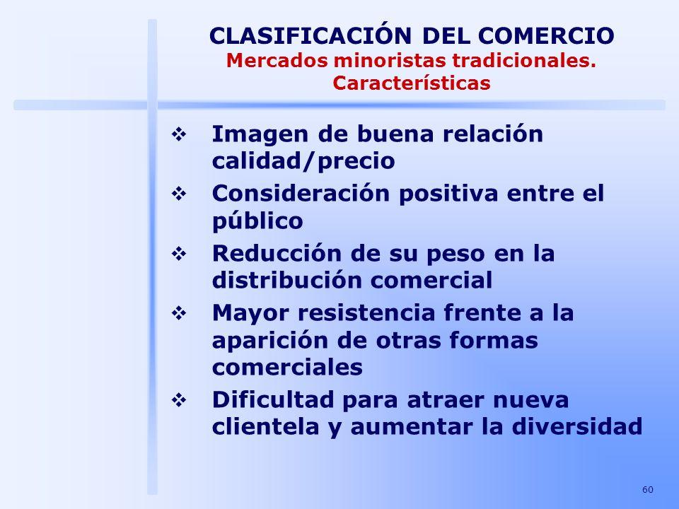 60 CLASIFICACIÓN DEL COMERCIO Mercados minoristas tradicionales. Características Imagen de buena relación calidad/precio Consideración positiva entre