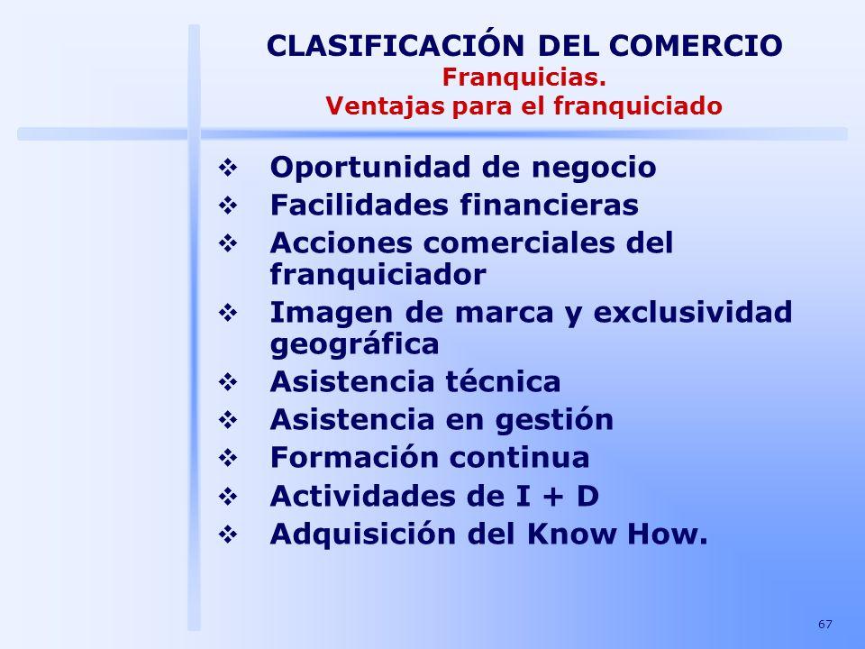 67 CLASIFICACIÓN DEL COMERCIO Franquicias. Ventajas para el franquiciado Oportunidad de negocio Facilidades financieras Acciones comerciales del franq