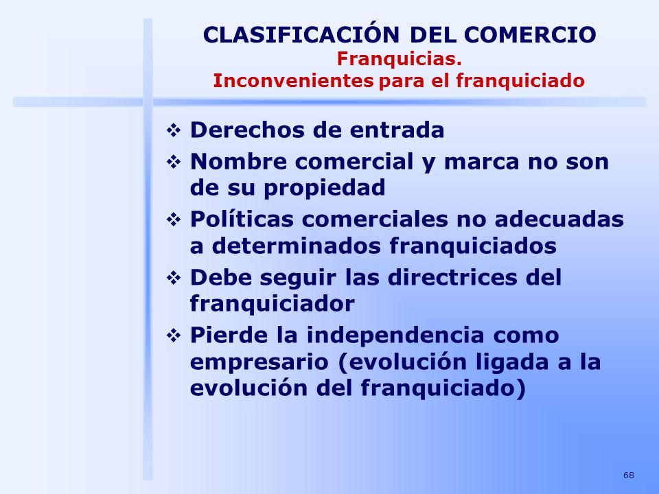 68 CLASIFICACIÓN DEL COMERCIO Franquicias. Inconvenientes para el franquiciado Derechos de entrada Nombre comercial y marca no son de su propiedad Pol