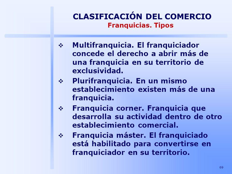 69 CLASIFICACIÓN DEL COMERCIO Franquicias. Tipos Multifranquicia. El franquiciador concede el derecho a abrir más de una franquicia en su territorio d