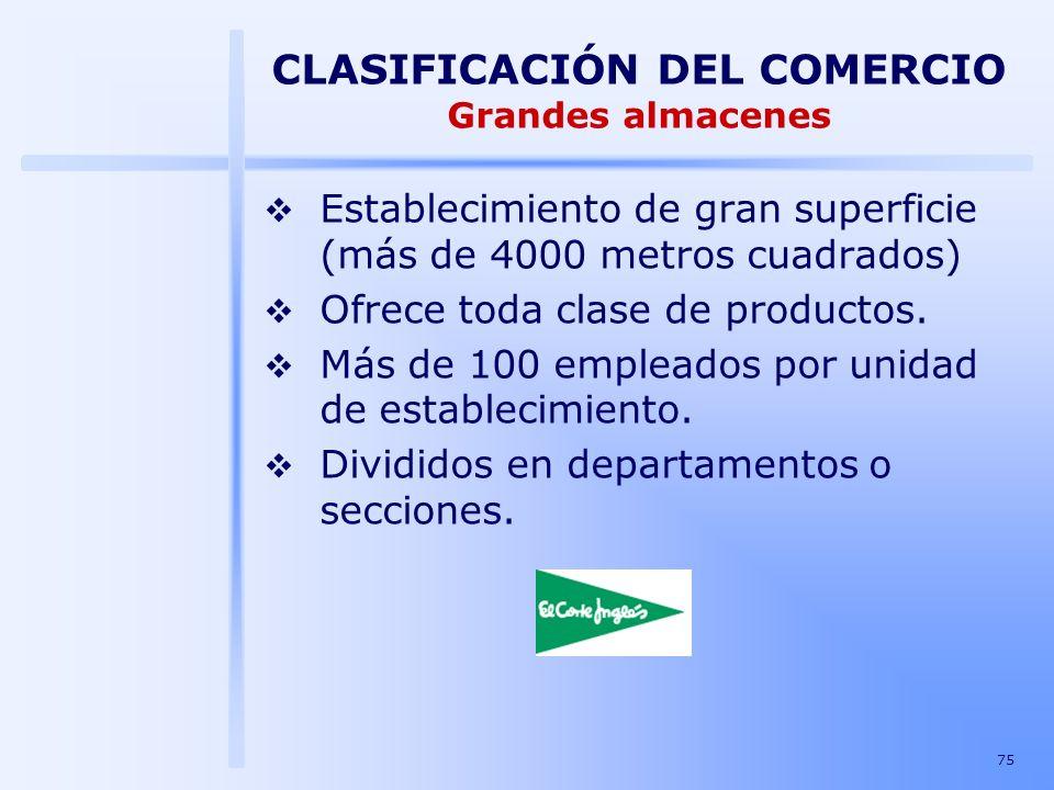 75 CLASIFICACIÓN DEL COMERCIO Grandes almacenes Establecimiento de gran superficie (más de 4000 metros cuadrados) Ofrece toda clase de productos. Más