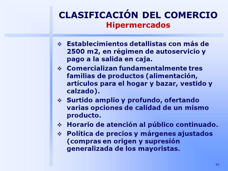 82 CLASIFICACIÓN DEL COMERCIO Hipermercados Establecimientos detallistas con más de 2500 m2, en régimen de autoservicio y pago a la salida en caja. Co