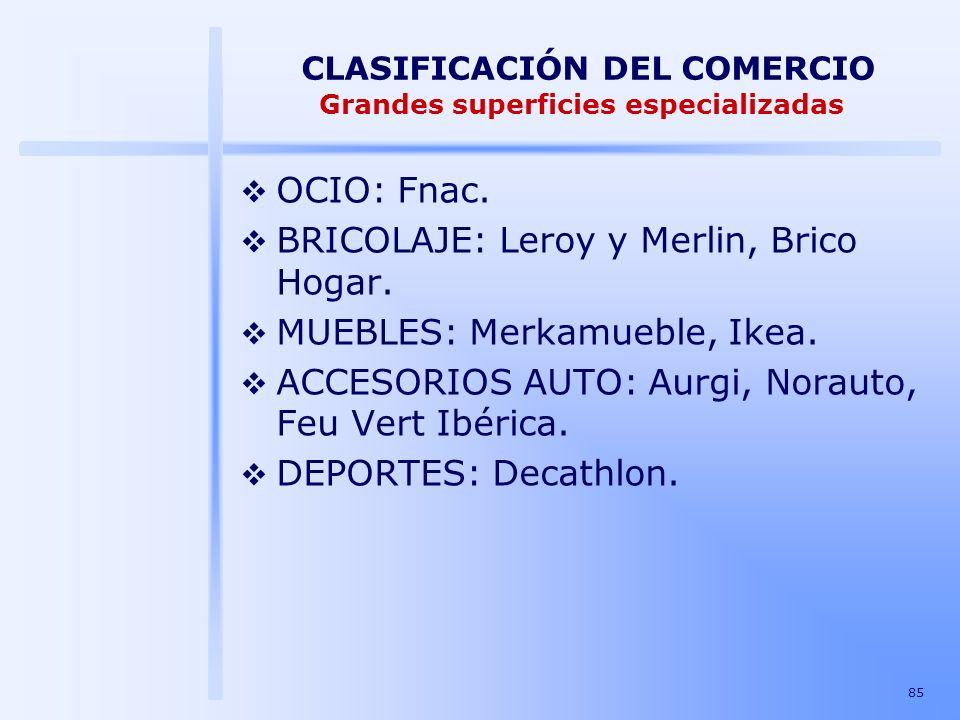 85 CLASIFICACIÓN DEL COMERCIO Grandes superficies especializadas OCIO: Fnac. BRICOLAJE: Leroy y Merlin, Brico Hogar. MUEBLES: Merkamueble, Ikea. ACCES