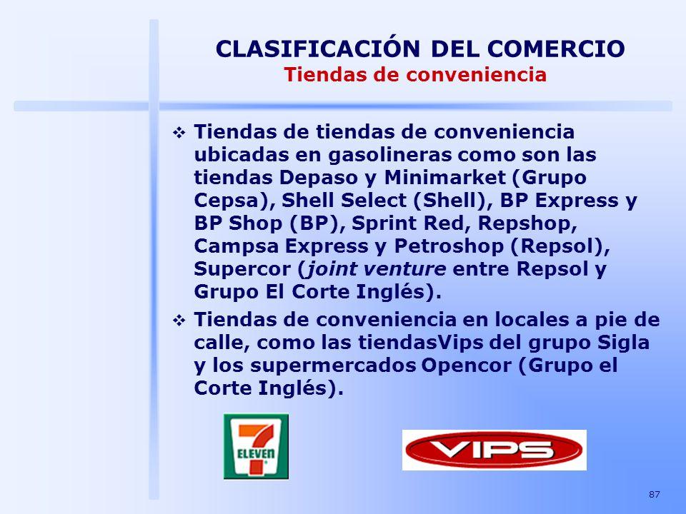 87 CLASIFICACIÓN DEL COMERCIO Tiendas de conveniencia Tiendas de tiendas de conveniencia ubicadas en gasolineras como son las tiendas Depaso y Minimar