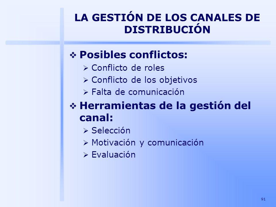 91 LA GESTIÓN DE LOS CANALES DE DISTRIBUCIÓN Posibles conflictos: Conflicto de roles Conflicto de los objetivos Falta de comunicación Herramientas de