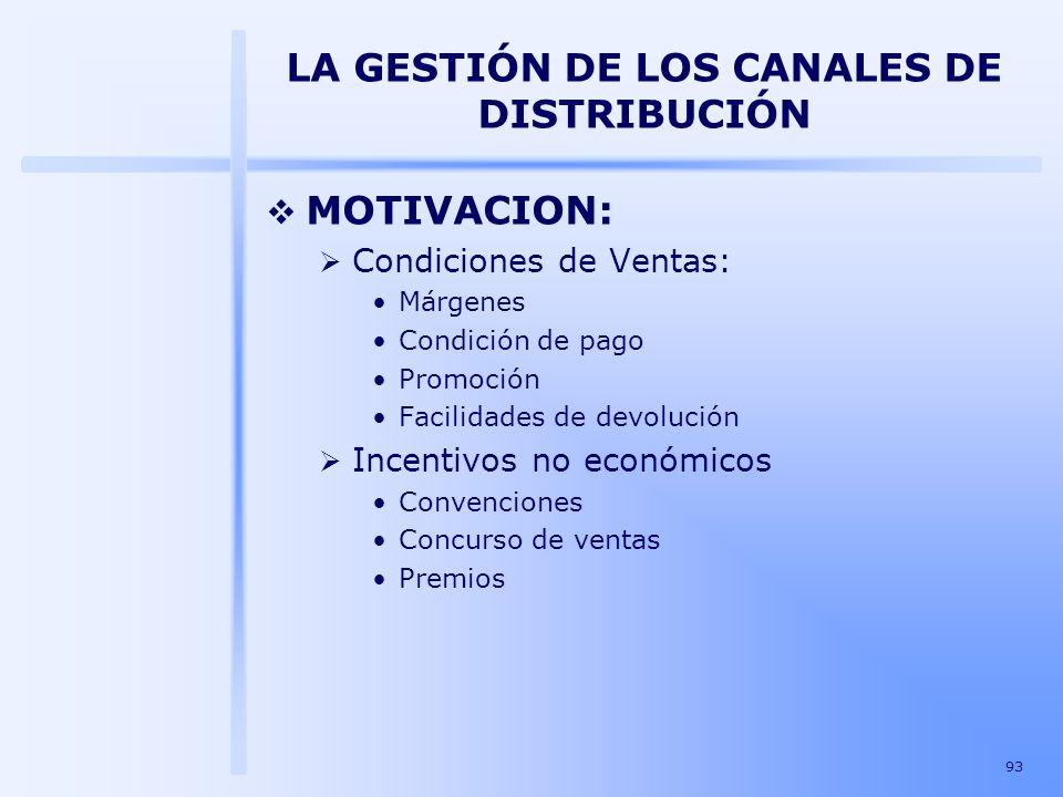 93 LA GESTIÓN DE LOS CANALES DE DISTRIBUCIÓN MOTIVACION: Condiciones de Ventas: Márgenes Condición de pago Promoción Facilidades de devolución Incenti