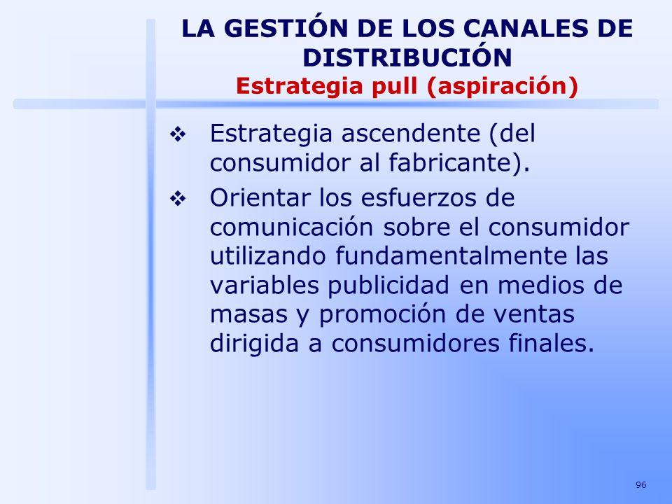 96 Estrategia ascendente (del consumidor al fabricante). Orientar los esfuerzos de comunicación sobre el consumidor utilizando fundamentalmente las va