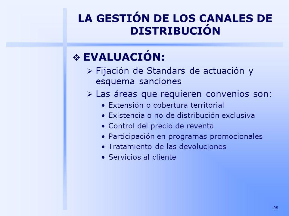 98 LA GESTIÓN DE LOS CANALES DE DISTRIBUCIÓN EVALUACIÓN: Fijación de Standars de actuación y esquema sanciones Las áreas que requieren convenios son:
