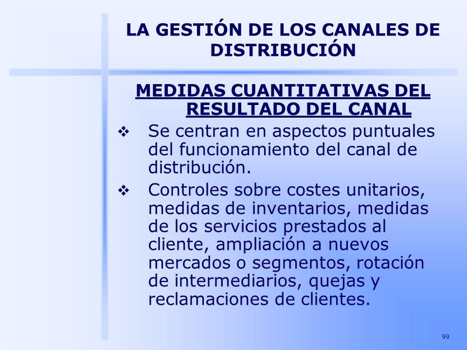 99 LA GESTIÓN DE LOS CANALES DE DISTRIBUCIÓN MEDIDAS CUANTITATIVAS DEL RESULTADO DEL CANAL Se centran en aspectos puntuales del funcionamiento del can