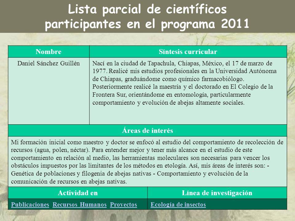 Lista parcial de científicos participantes en el programa 2011 NombreSíntesis curricular Daniel Sánchez GuillénNací en la ciudad de Tapachula, Chiapas