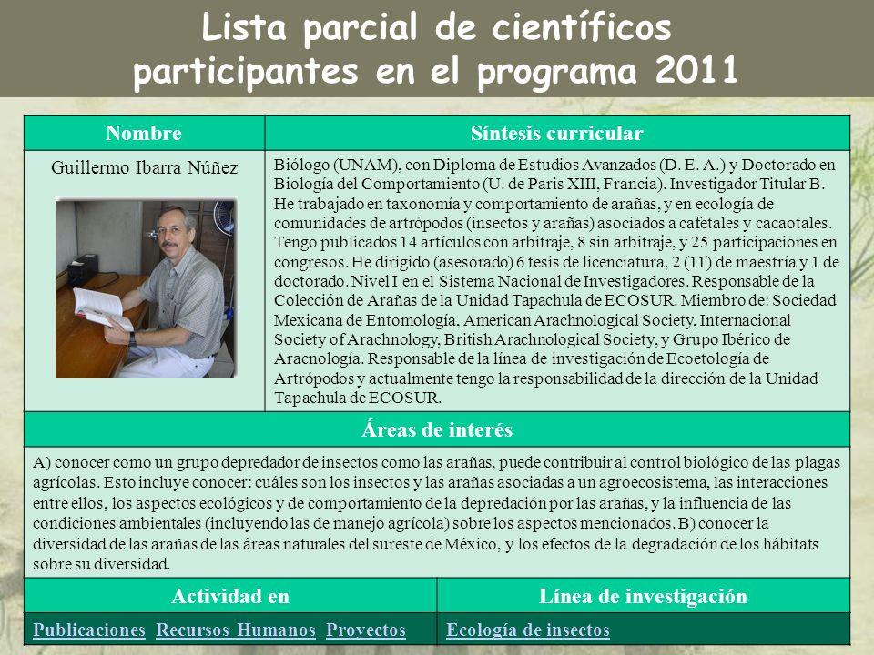 NombreSíntesis curricular Guillermo Ibarra Núñez Biólogo (UNAM), con Diploma de Estudios Avanzados (D. E. A.) y Doctorado en Biología del Comportamien