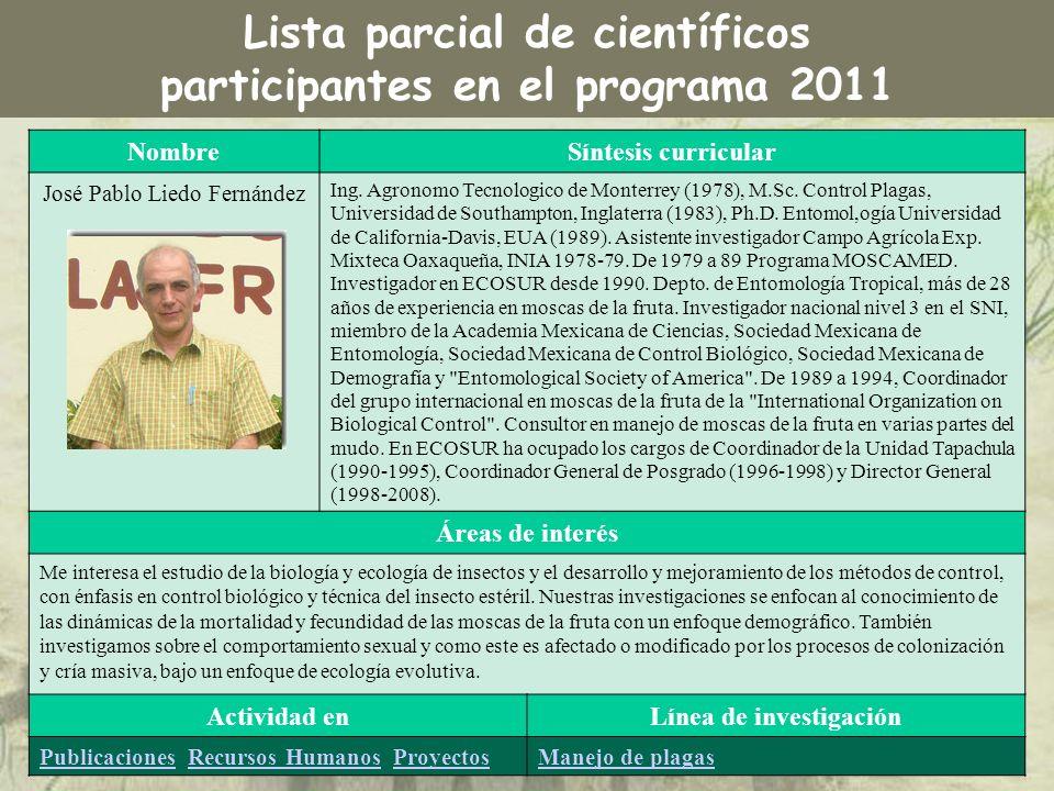 NombreSíntesis curricular José Pablo Liedo Fernández Ing. Agronomo Tecnologico de Monterrey (1978), M.Sc. Control Plagas, Universidad de Southampton,