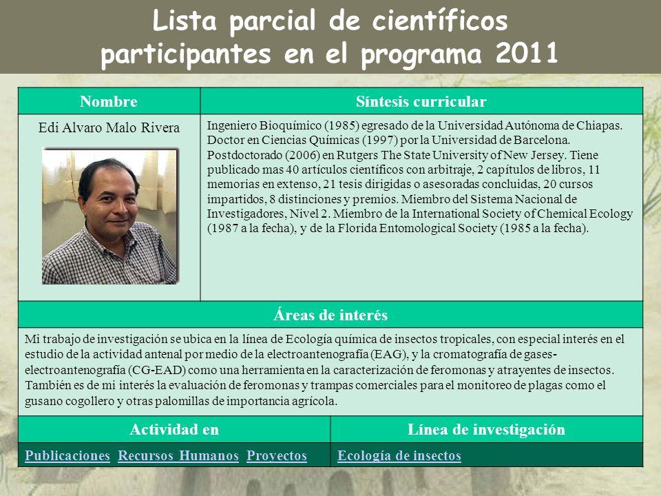 NombreSíntesis curricular Edi Alvaro Malo Rivera Ingeniero Bioquímico (1985) egresado de la Universidad Autónoma de Chiapas. Doctor en Ciencias Químic