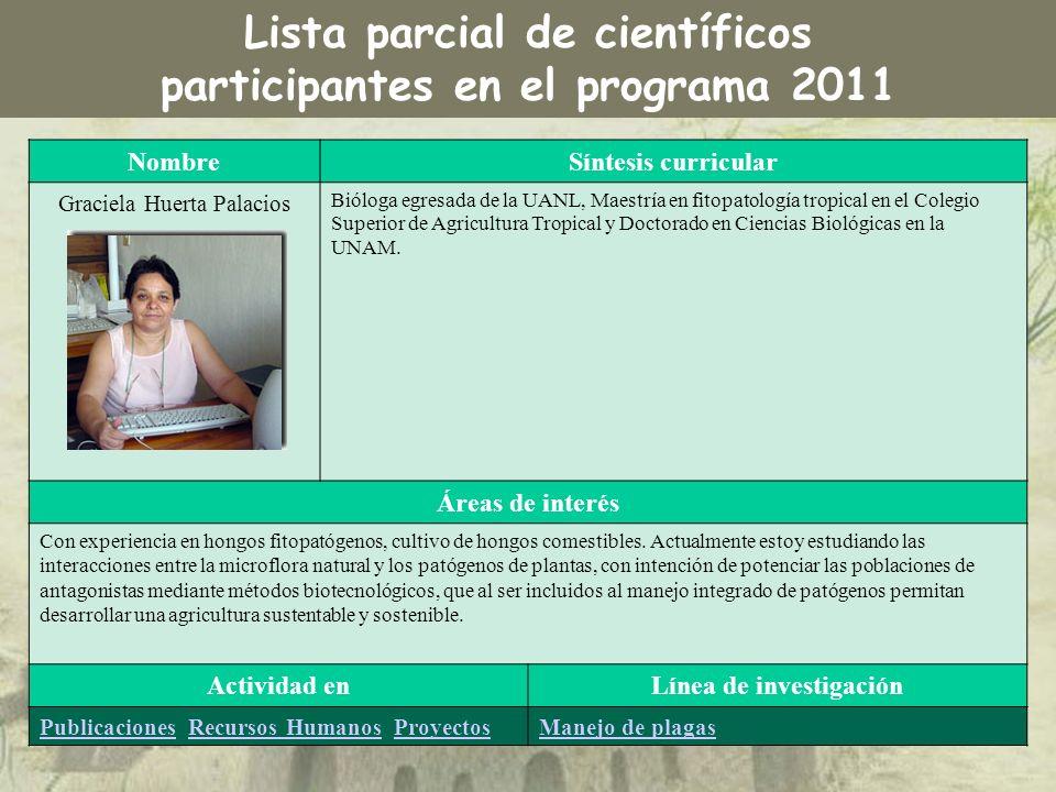NombreSíntesis curricular Graciela Huerta Palacios Bióloga egresada de la UANL, Maestría en fitopatología tropical en el Colegio Superior de Agricultu