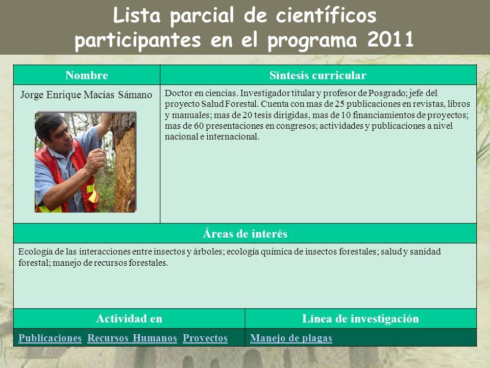 NombreSíntesis curricular Jorge Enrique Macías Sámano Doctor en ciencias. Investigador titular y profesor de Posgrado; jefe del proyecto Salud Foresta