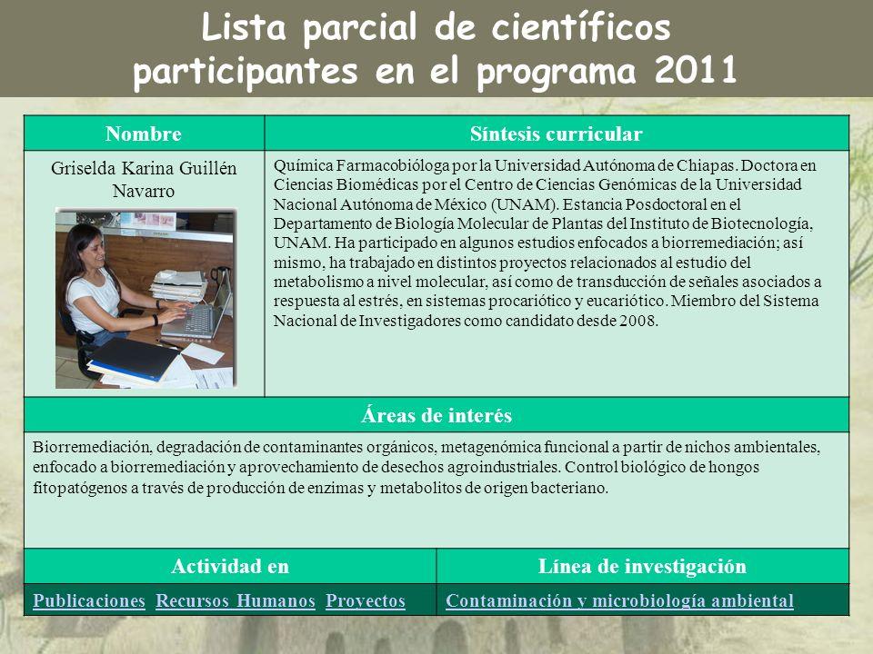 NombreSíntesis curricular Griselda Karina Guillén Navarro Química Farmacobióloga por la Universidad Autónoma de Chiapas. Doctora en Ciencias Biomédica