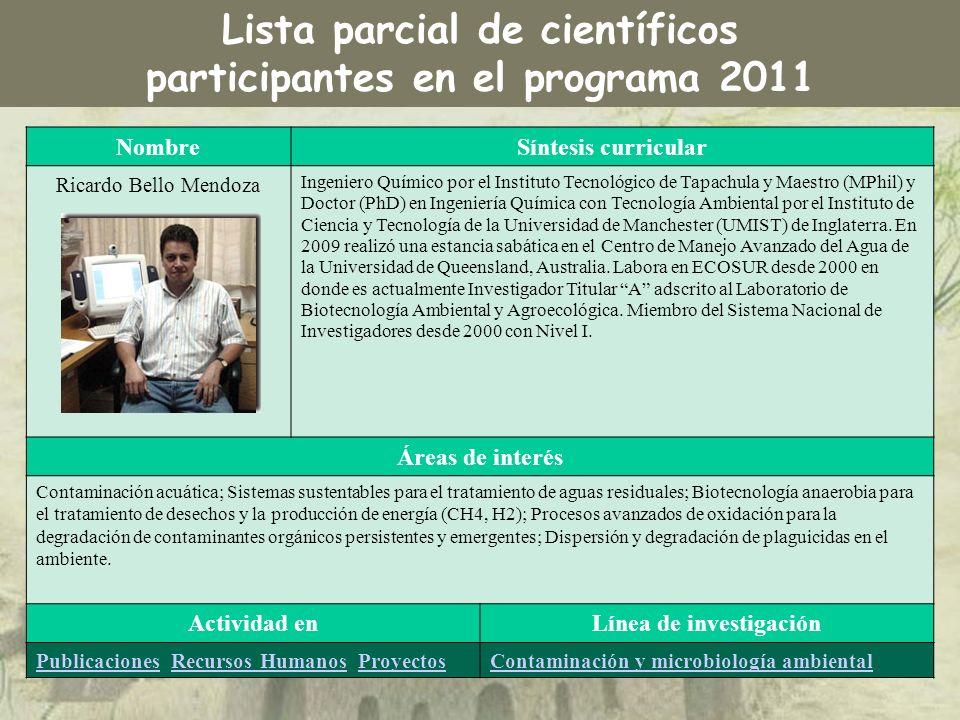 NombreSíntesis curricular Ricardo Bello Mendoza Ingeniero Químico por el Instituto Tecnológico de Tapachula y Maestro (MPhil) y Doctor (PhD) en Ingeni