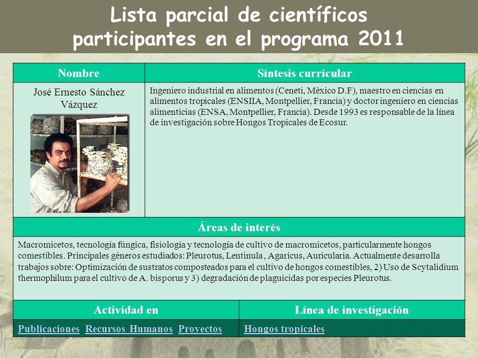NombreSíntesis curricular José Ernesto Sánchez Vázquez Ingeniero industrial en alimentos (Ceneti, México D.F), maestro en ciencias en alimentos tropic