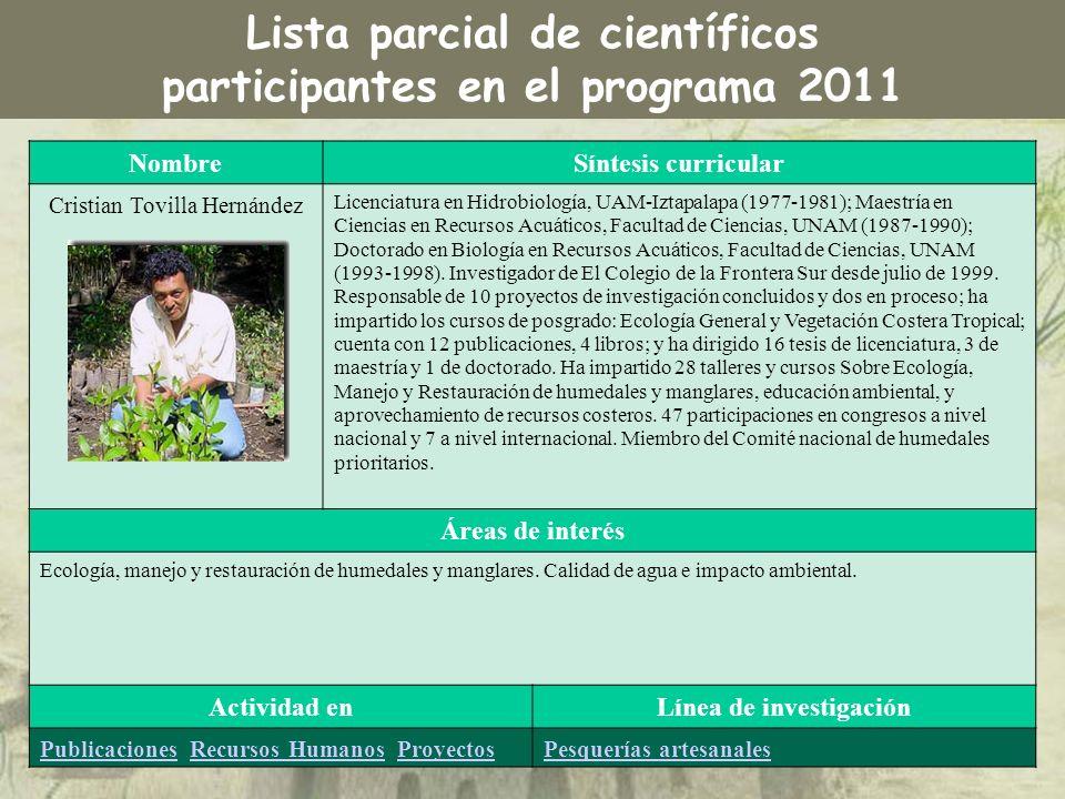 NombreSíntesis curricular Cristian Tovilla Hernández Licenciatura en Hidrobiología, UAM-Iztapalapa (1977-1981); Maestría en Ciencias en Recursos Acuát