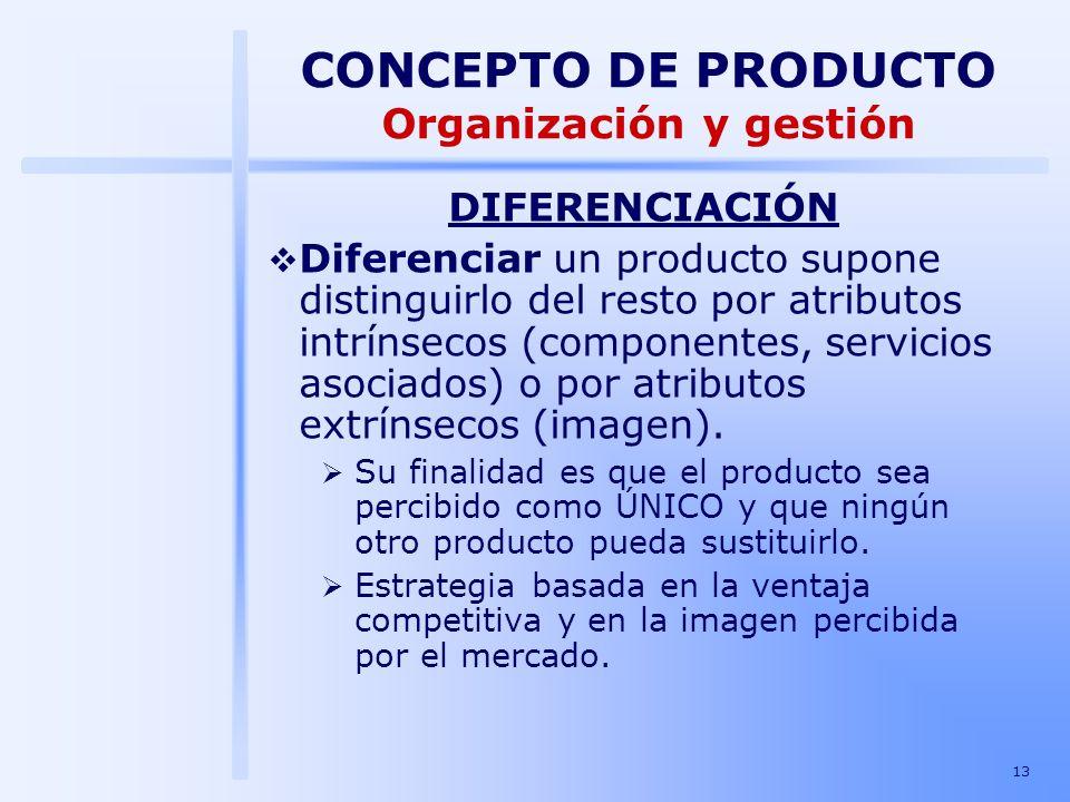 13 DIFERENCIACIÓN Diferenciar un producto supone distinguirlo del resto por atributos intrínsecos (componentes, servicios asociados) o por atributos e